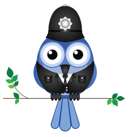 Comical bird policeman sat on a branch isolated on white background Stock Vector - 15462658
