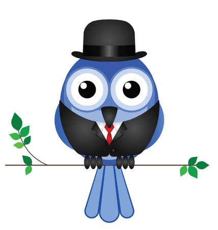capitalismo: Cômico empresário pássaro sentou-se em um ramo isolado no fundo branco Ilustração