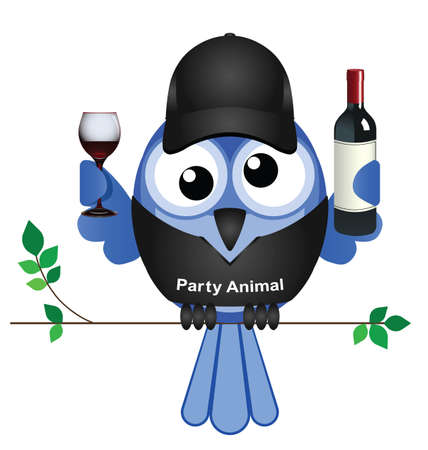 bash: Party Animal bird sat on a branch isolated on white background Illustration