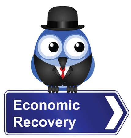 upturn: Economic recovery sign isolated on white background Illustration