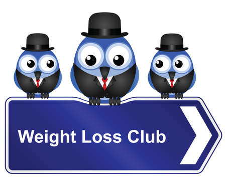 rotund: Comical weight loss club sign isolated on white background
