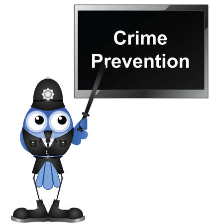 Policeman giving talk on crime prevention isolated on white background Stock Vector - 15729577