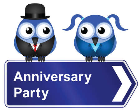bowler hats: Comical anniversary party sign isolated on white background