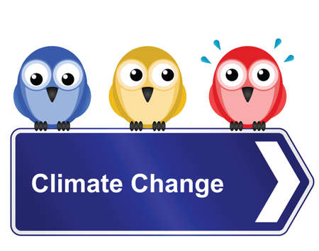 particulates: Representation of climate change warming the planet and the consequences on wildlife Illustration