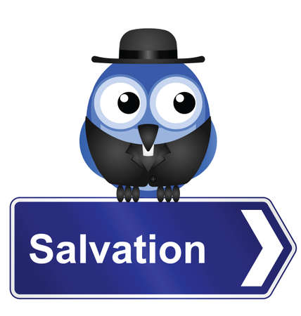 devout: Salvation sign with clergyman isolated on white background