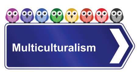 bigotry: Representation of multiculturalism in society isolated on white background