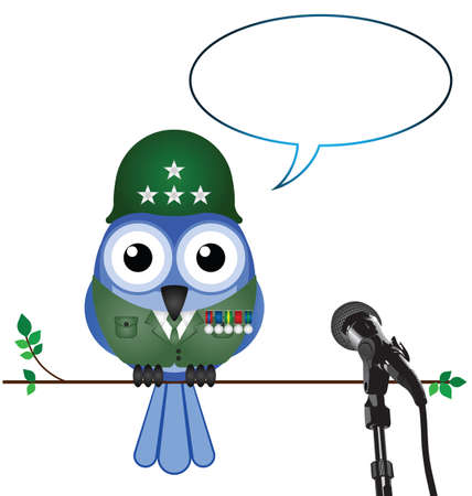 trooper: Soldier giving interview with copy space for own text Illustration