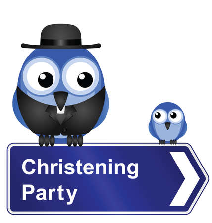 clergyman: Comical Christening Party sign isolated on white background