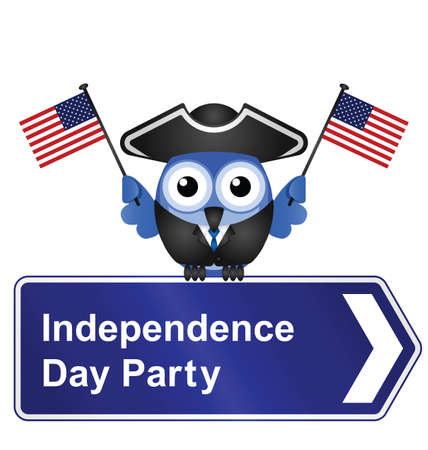colonial: Comical Independence Day party sign isolated on white background