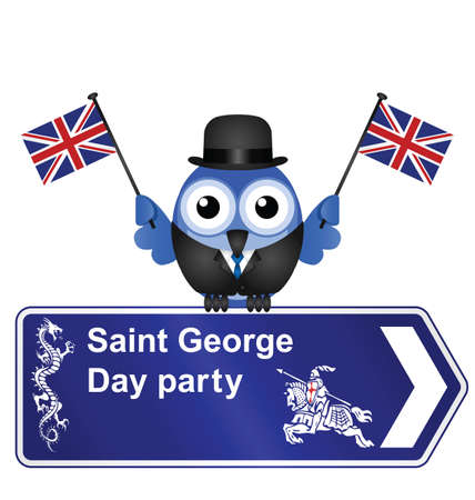 Comical Saint George Day party sign isolated on white background Vector