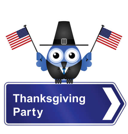 reformation: Comical Thanksgiving Day party sign isolated on white background