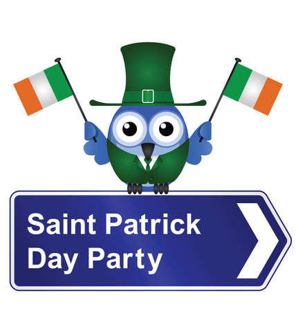 patron saint of ireland: Comical Saint Patrick Day party sign isolated on white background