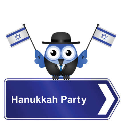 Hanukkah party sign isolated on white background Vector