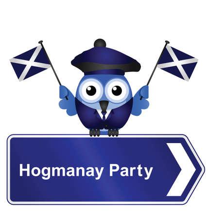 scot: Comical Scottish Hogmanay party sign isolated on white background Illustration