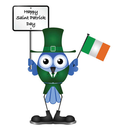 patron saint of ireland: Comical Happy Saint Patrick Day message isolated on white background Illustration