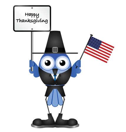 флагшток: Смешной Счастливый День благодарения сообщение на белом фоне