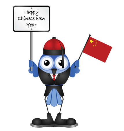 chinese hat: Comical Happy Chinese New Year message isolated on white background