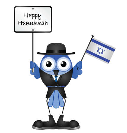 bird of israel: Comical Happy Hanukkah message isolated on white background