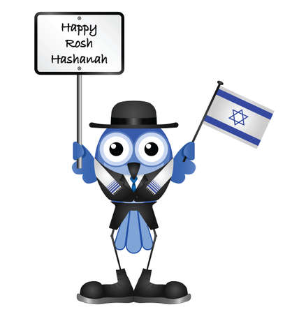 jewish new year: Happy Rosh Hashanah message isolated on white background Illustration