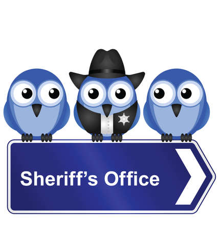 lawman: Comical American sheriff office sign isolated on white background Illustration