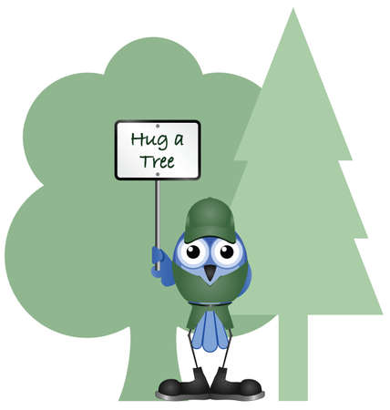 Environmental hug a tree message isolated on white background Stock Vector - 16146983
