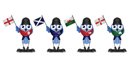 welsh: Comical patriotic birds of the United Kingdom