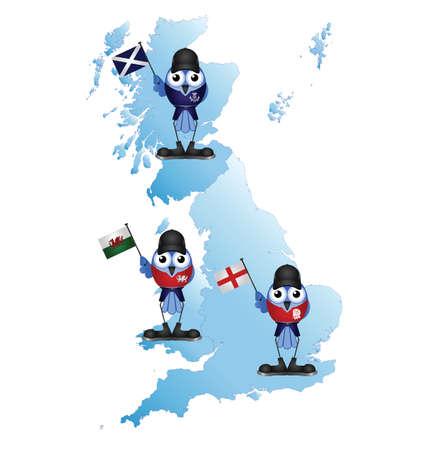 welsh flag: Britannica Isle mappa con comici uccelli patriottici Vettoriali