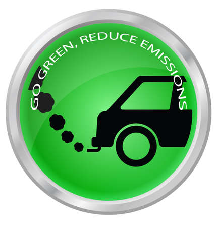 emissions: Reduce carbon emissions car button isolated on white background