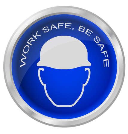 industrial safety: El trabajo se seguros bot�n segura aislado sobre fondo blanco