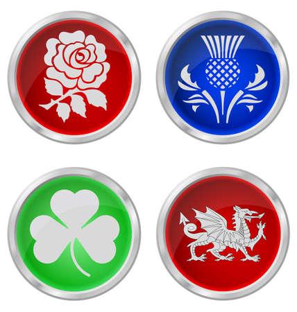ostrożeń: Wielka Brytania przyciski emblemat na biaÅ'ym tle Ilustracja