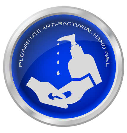 anti bacterial: Anti bacterial hand gel button isolated on white background Illustration