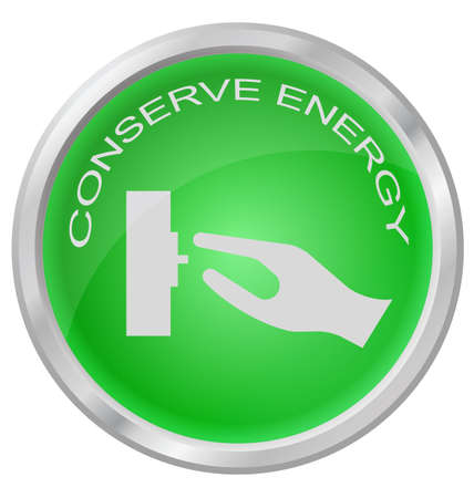 energy buttons: Conserve Energy button isolated on white background