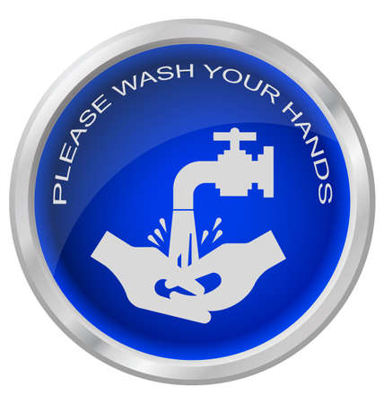 health and safety: Wash hands button isolated on white background Illustration