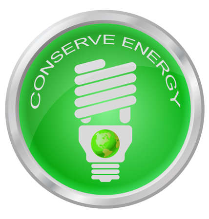 energy conservation: Conserve Energy light bulb button isolated on white background