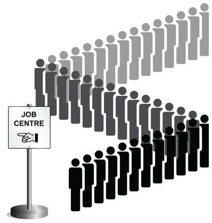 unemployed: Unemployed people queuing at a job centre sign UK version