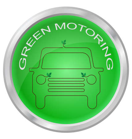 Green Motoring button isolated on white background Illustration