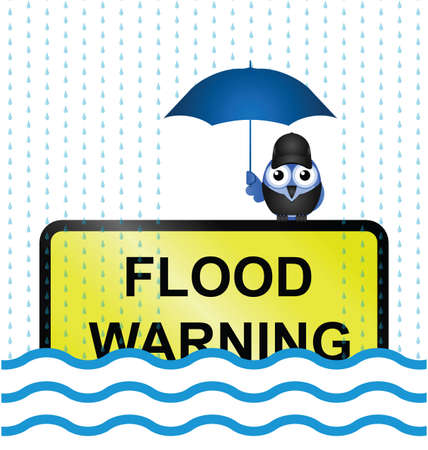 Half submerged flood warning sign with rain falling Stock Vector - 18052556