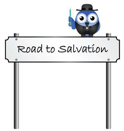 délivrance: Road to Salvation rue signe du nom isolé sur fond blanc