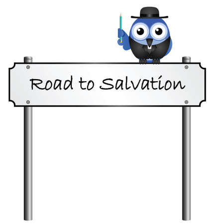 Road to Salvation street name sign isolated on white background
