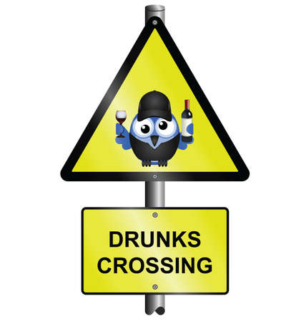 inebriated: Comical road drunks crossing sign isolated on white background