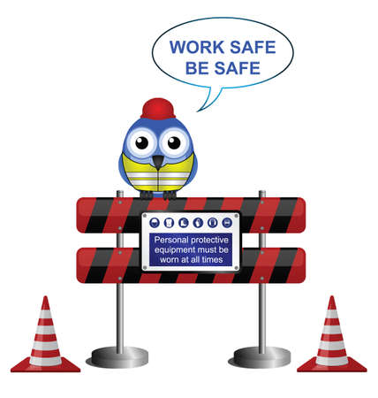 Construction work safe message isolated on white background Stock Vector - 18135247