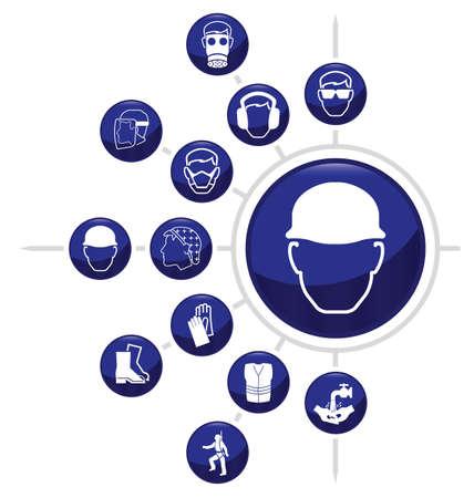 seguridad e higiene: Conjunto obligatorio de la construcción relacionada con un icono aislado sobre fondo blanco Vectores