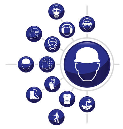 building safety: Mandatory construction related icon set one isolated on white background Illustration