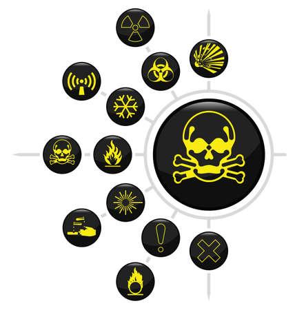 oxidising: Icono de advertencia de peligro relacionada conjunto aislado sobre fondo blanco Vectores