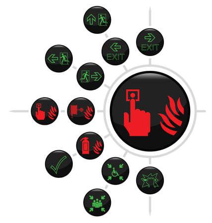 salida de emergencia: Fuego e icono ruta de escape conjunto aislado sobre fondo blanco