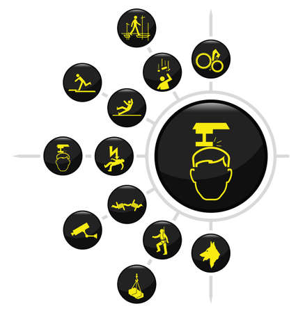 dangerous construction: Safety and security icon set isolated on white background