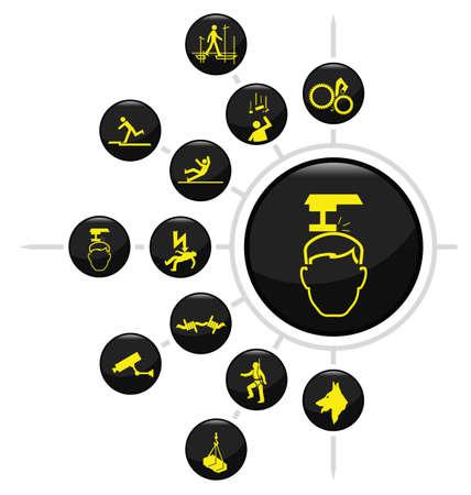 industrial danger: Seguridad e icono de Seguridad estableci� aislado sobre fondo blanco Vectores