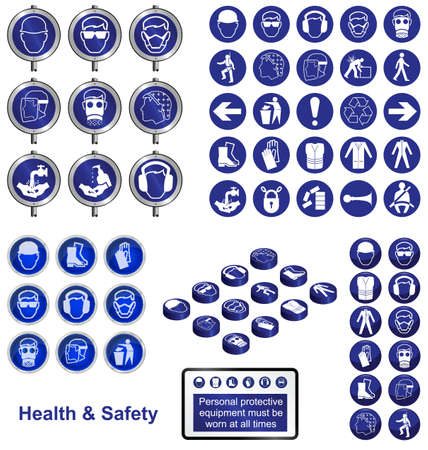 manufacturing occupation: Health and Safety icons and sign collection