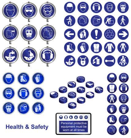 Icone di salute e sicurezza e di raccolta segno Vettoriali