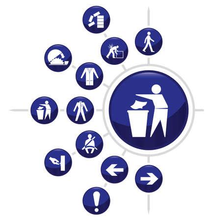 ppe: Mandatory construction related icon set two isolated on white background
